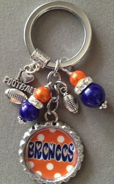 Denver Broncos inspired bottle cap key chain