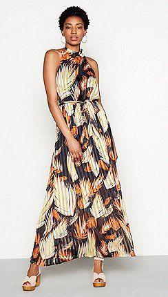 15586ae40d YAS - Multi-coloured floral stripe print  Ricci  high neck maxi dress