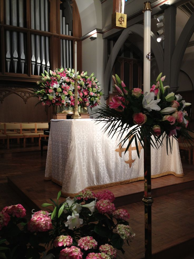 Easter Altar Arrangement Paschal Candle In Pink Roses And
