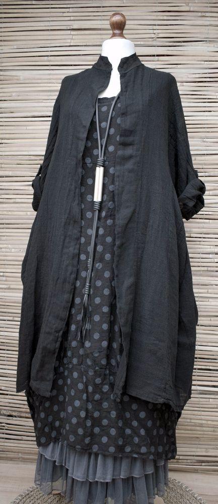 LAGENLOOK LINEN OVERSIZE AMAZING 2 PCS DOTS DRESS+LONG JACKET***BLACK***XL-XXL in Clothes, Shoes & Accessories, Women's Clothing, Dresses | eBay!