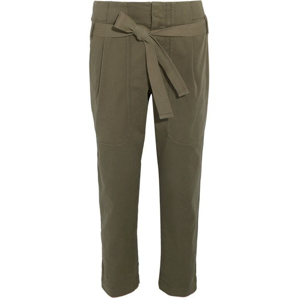 Brunello Cucinelli Cropped cotton-blend tapered pants ($845) ❤ liked on Polyvore featuring pants, capris, taper cut pants, tapered trousers, military style pants, cropped pants and cropped trousers