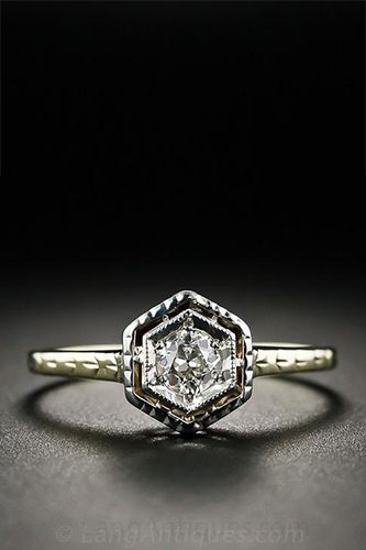 Vintage Art Deco Diamond and Two-Tone Engagement Ring