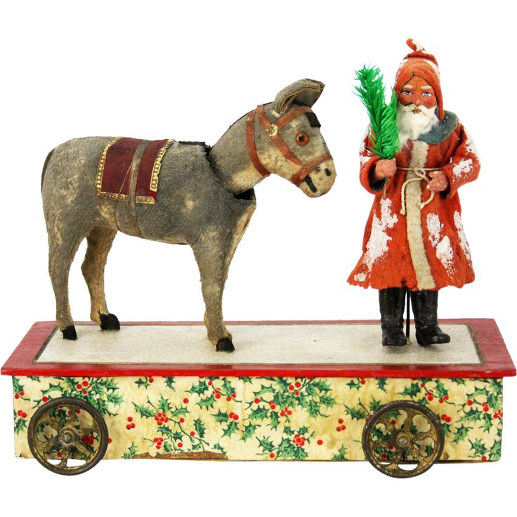 Antique German Mechanical Musical Santa and Donkey Nodder Pull Toy from frederickpine on Ruby Lane