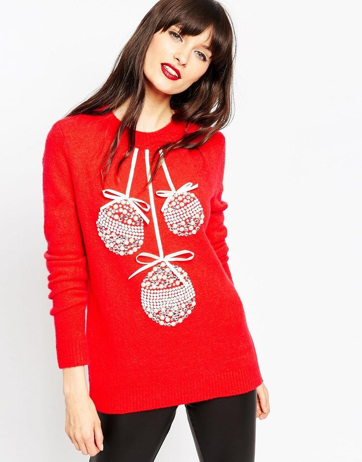 ASOS Christmas Jumper with Baubles