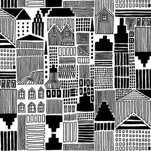 Marimekko Onnea Etsimässä White/Black Fabric - Marimekko Cotton Fabrics