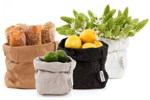 Paper bags - recycle paper - and washable.  Made by Lubech Living.