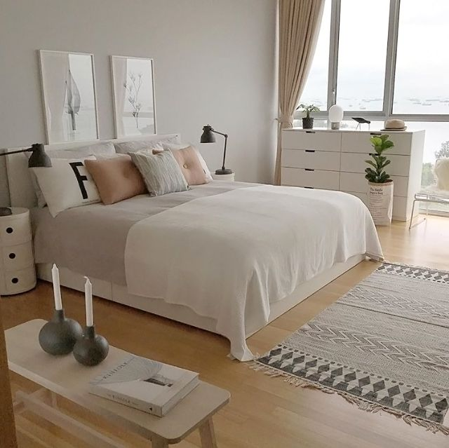 A Grey Pink And White Bedroom Is To Me Hnliche Tolle Projekte Und Ideen
