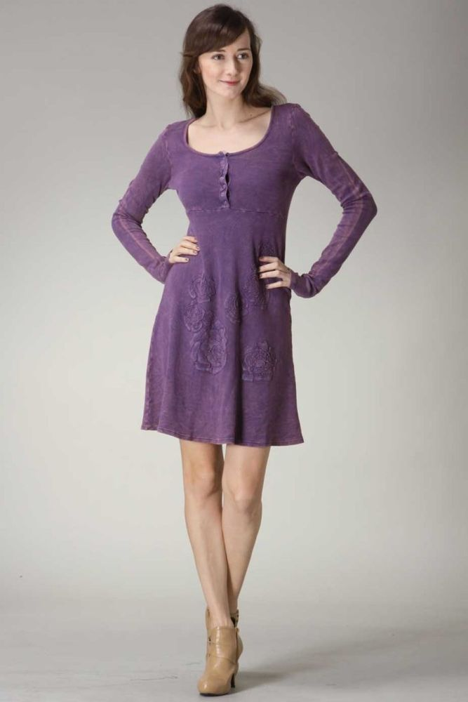 Large Urban X Women's Clothing Dress Purple Long Sleeve Cotton ...