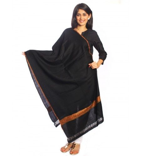 Buy black pure woolen shawl online at UPTOWNGALERIA .Shop with confidence this latest and fashionable designed pure wool shawls in this winter season.