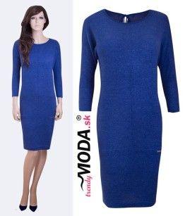 Modré úpletové dámske šaty - trendymoda.sk
