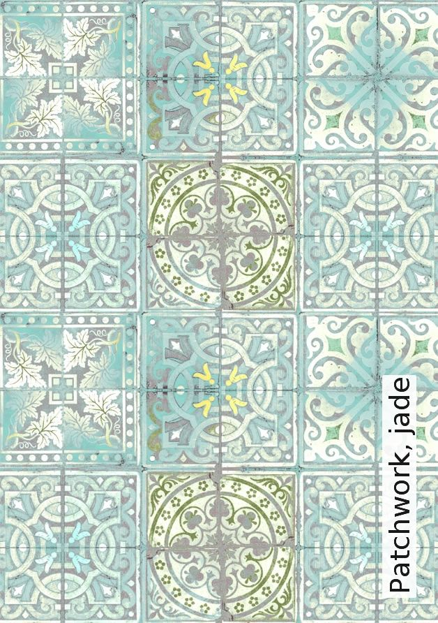 Tapeten Marokkanische Muster : Tapete: Patchwork, jade – Die TapetenAgentur