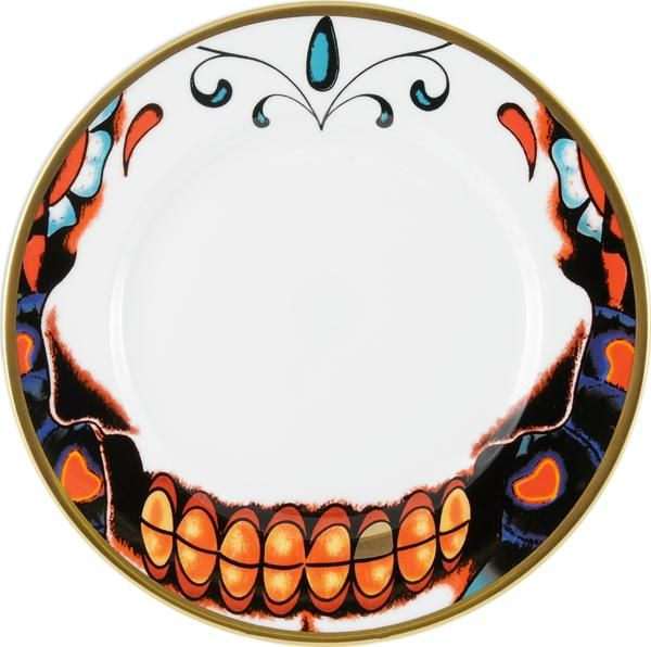 """8"""" Breakfast Plate, a cool design featuring teeth from the 'Inkhead' skull, designed by Florian Hutter. Taking inspiration from tattoos and edgy art, 'Inkhead' features a vibrant and bold skull design full of colour and detail. Hand gilded 22kt Gold rim and accents – gold tooth, made in Stoke-on-Trent, England. Fine Bone China. Find out more here: https://thenewenglish.co.uk/collections/inkhead #TheNewEnglish #Inkhead #Tattoos"""