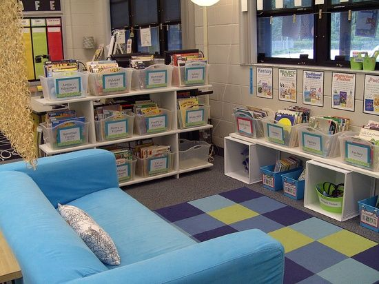 Classroom Library, my third grade teacher had a couch in the corner with book shelfs and a shower curtian on one side to block off a quiet area. It made such a lasting impression on me I wanted to grow up and do it in my
