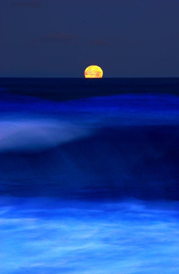 Moon over the Atlantic Sea.