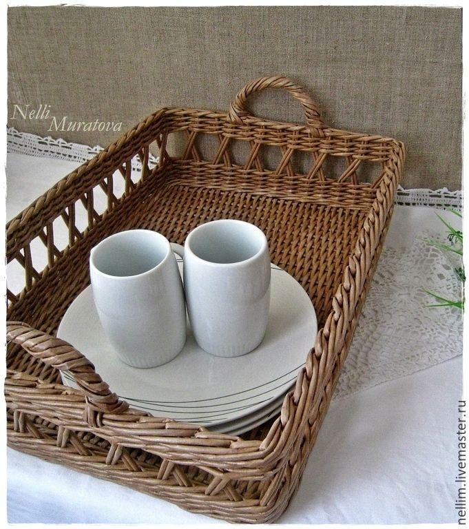 """Купить """"Завтрак в Провансе"""" Поднос плетеный - бежевый, поднос для кухни, поднос для завтрака, плетеный поднос"""