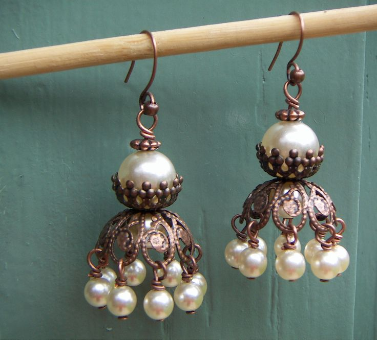 Copper Coloured Bead Cap Earrings With Cream Glass Pearls. $28.00, via Etsy.