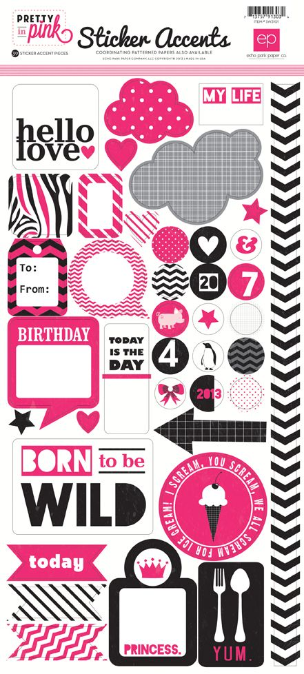 Echo park pretty in pink collection cardstock stickers