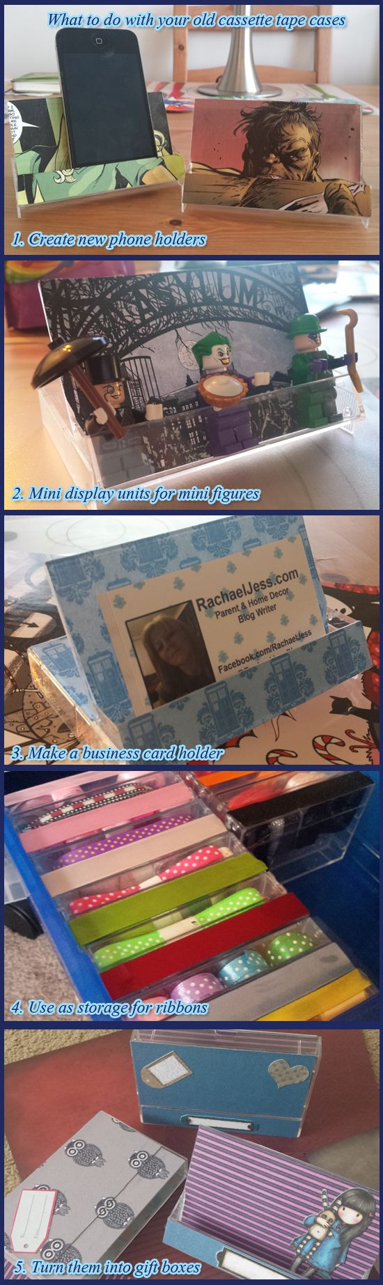 5 new uses for old cassette tape cases - Lego mini figures, Business card holder, phone holder, ribbon cases and gift boxes  Upcycling (the now hard to come by) old cassette tape cases - I had such fun - which is your favourite?