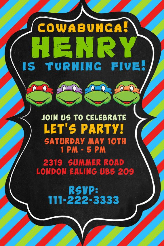98 Ninja Turtle Birthday Invitations Online