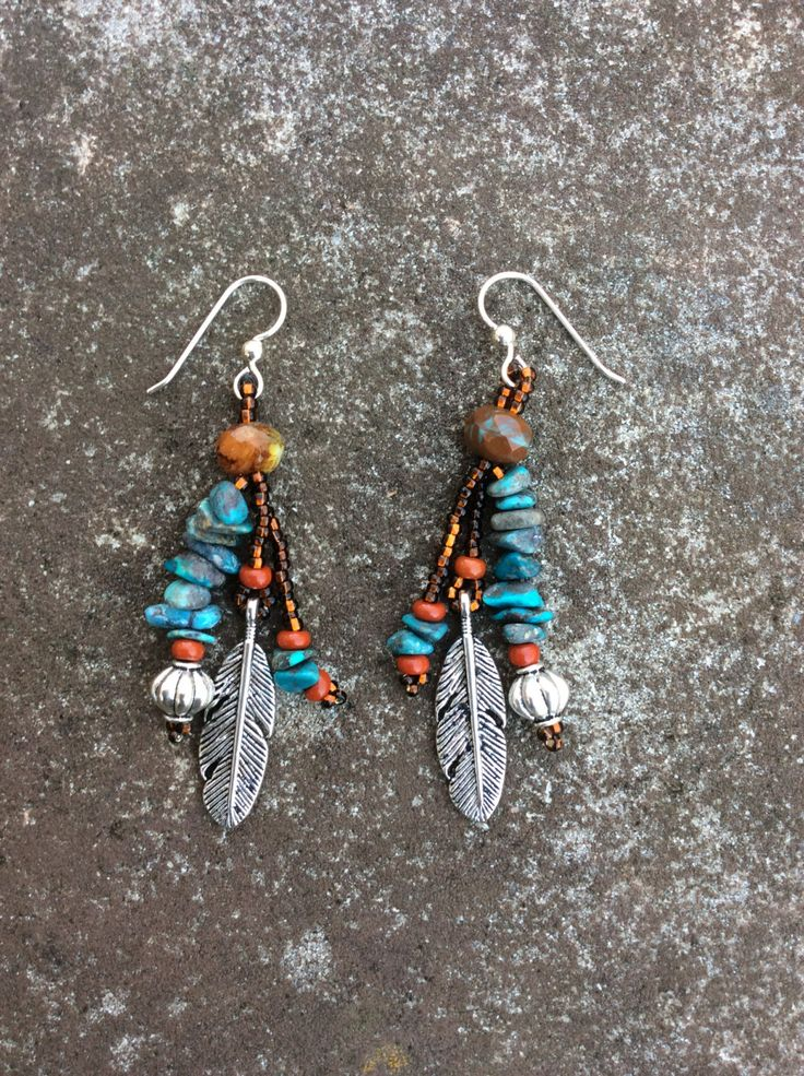 Southwest Earrings - Turquoise Nuggets - Feather Dangles - Native American Inspired Earrings by HollyBeanDesign on Etsy