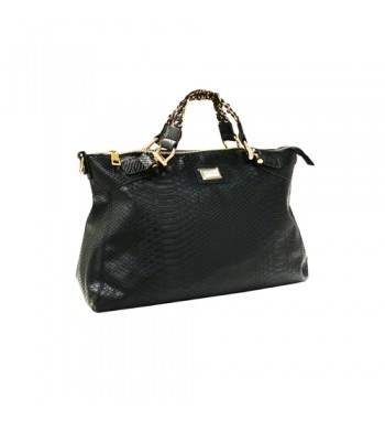 Pu leather shopping bag with rich golden ornaments. Black pu leather version with reptile print. Continuous production.   http://shop.mangano.com/en/bags/16005-borsa-larissa-ecop-rettile-ne.html  #fashion #bag
