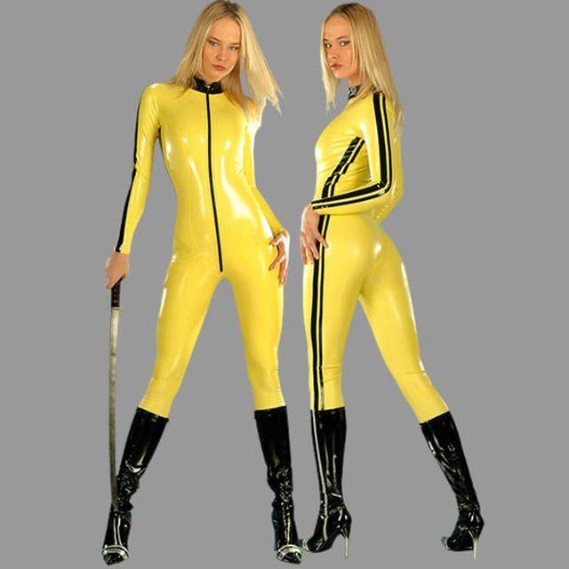 Yellow pvc artificial leather one piece tight-fitting clothing halloween game service US $61.91 Specifics Gender	Women Item Type	One Pieces Pattern Type	Solid Material	Nylon Support Type	Wire Free With Pad	No  Click to Buy :http://goo.gl/t9O329