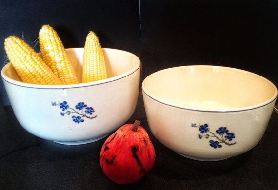Oxford bowls with pretty blue flowers design. Functional by NaKoVa