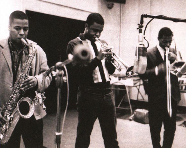 "reek34jazz: ""Wayne Shorter, Freddie Hubbard, Curtis Fuller, in 1962. """
