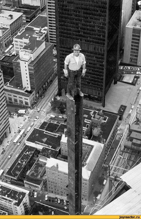 When men were men!!! And clambered up skyscrapers without safety gear, without fear, and got buildings built in a year instead of decades.