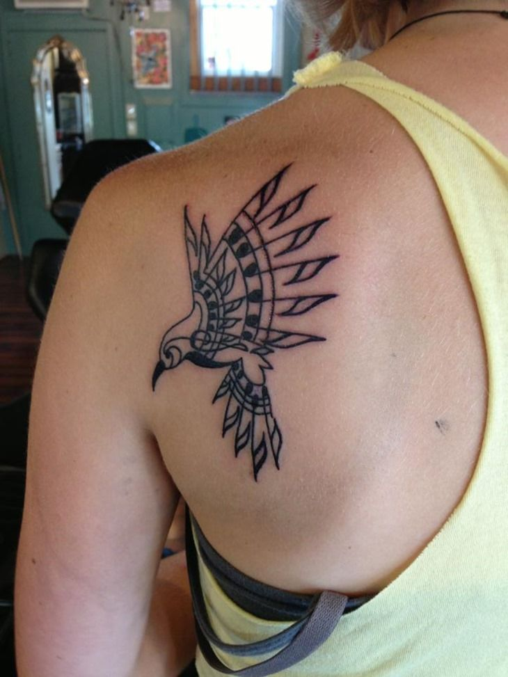 Pretty Bird Tattoo on Back Shoulder for Women | Cool Tattoo