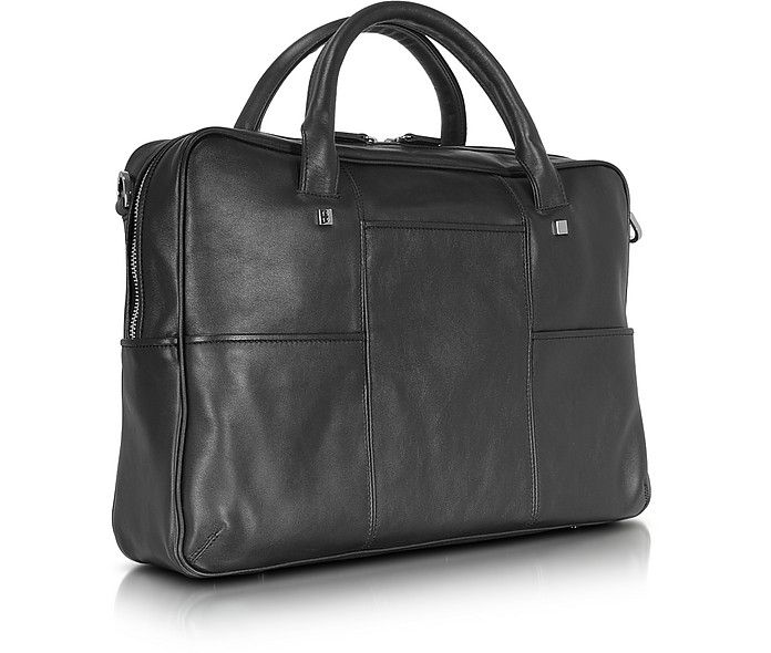 "Giorgio Fedon 1919 British Black Leather Briefcase w/13"" Laptop Compartment at FORZIERI"
