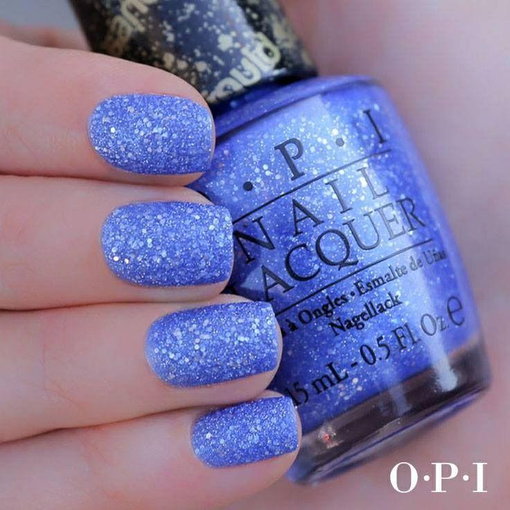 O.P.I. Liquid Sand 'Kiss Me at Midnight' - Beautiful cornflower blue texture with silver hex glitter...x