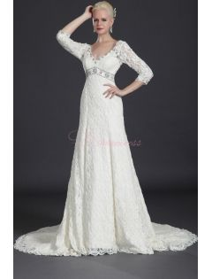 Gorgeous Lace Sleeves Wedding Gown