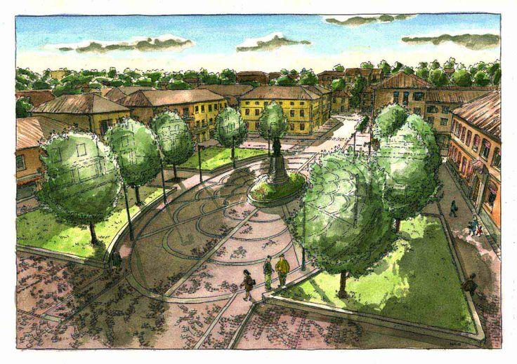 Acquarello. Anzola nell'Emilia, nuovo disegno e pavimentazione piazza.