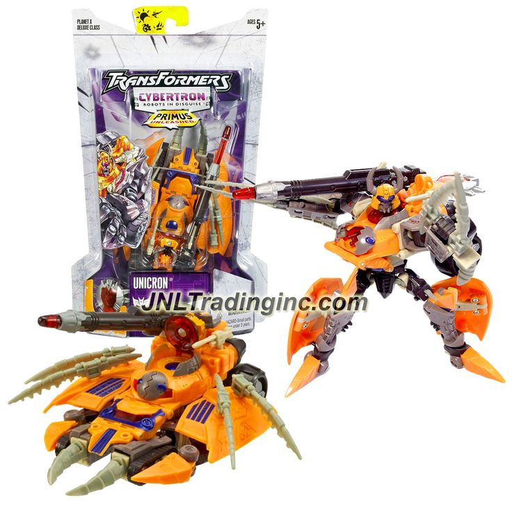 "Hasbro Transformers Cybertron Series Deluxe Class 6"" Tall Figure - UNICRON with Anti Proton Missile & Cyber Planet Key (Vehicle Mode: Destroyer Tank)"