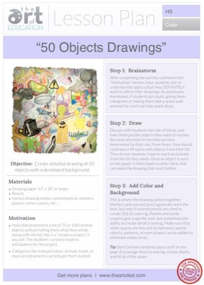 50 Objects Drawings: Free Lesson Plan Download