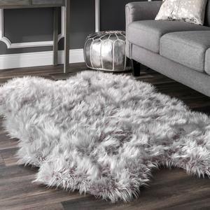 Cascade Faux Sheepskin Shag Rug White Fluffy Rug Fluffy