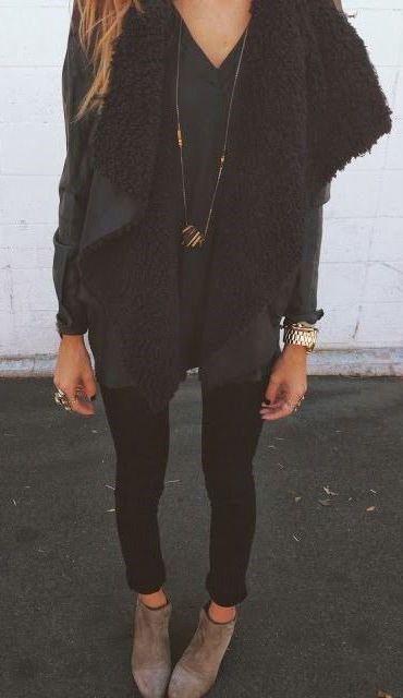 #fall #fashion / black & gray