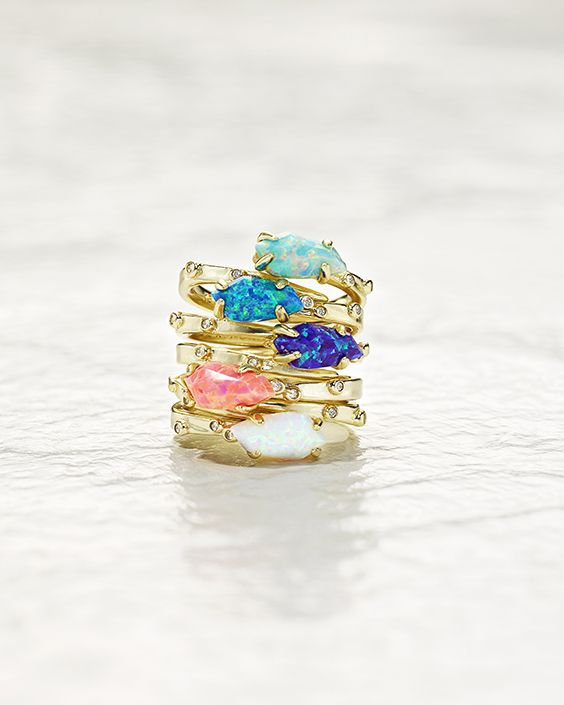 Just got This collection for Mother's Day and LOVE it! Julia Rings in Kyocera Opal - Kendra Scott Jewelry