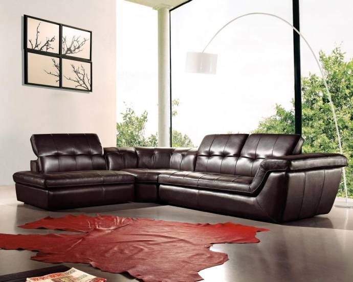 J M 397 Modern Brown Italian Leather Sectional W Adjustable Headrests Lhc Sectional Sofa Leather Sectional Leather Sectional Sofas