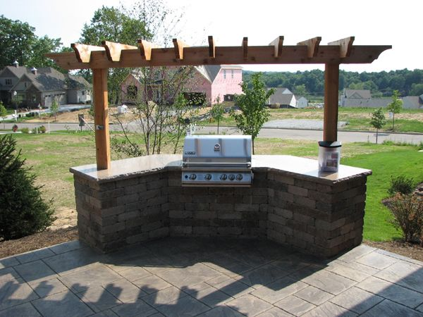 Covered grill station patio pinterest grill station for Outdoor cooking station plans