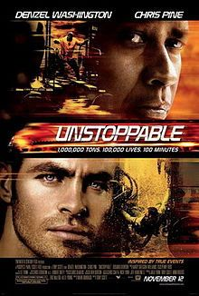 Unstoppable is a 2010 American action thriller film directed by Tony Scott as his final film, written by Mark Bomback, and starring Denzel Washington and Chris Pine. The film, loosely based on the real-life CSX 8888 incident, tells the story of a runaway freight train, and the two men (Washington and Pine) who attempt to stop it.