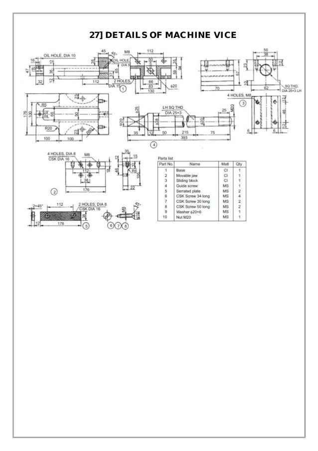 Assembly and Details machine drawing pdf | แบบงาน in 2019