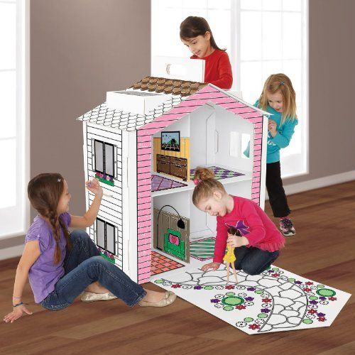 Discovery Kids Cardboard Color And Play Dollhouse