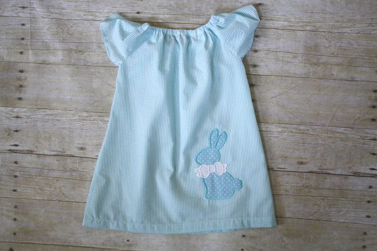 Peasent dress, Easter bunny dress, seersucker dress, toddler dress by SandyBottomsShop on Etsy