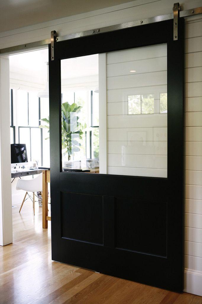 HouseTour:ModernFarmhouse - Design Chic A sliding barn door with a window! Brilliant!