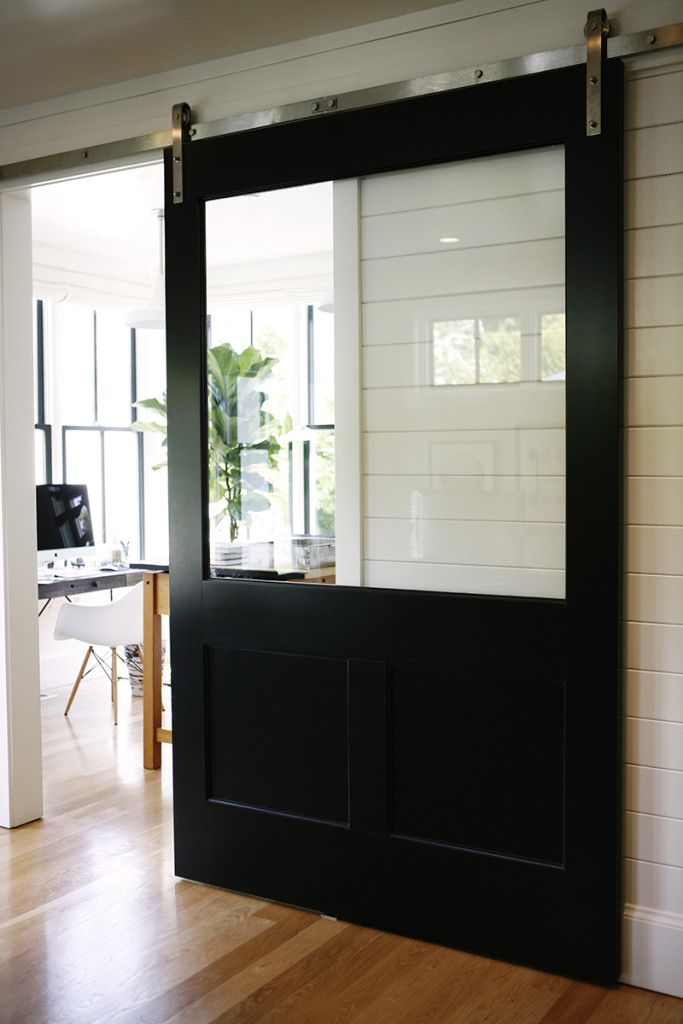 HouseTour:ModernFarmhouse - Design Chic  A sliding barn door with a window!  Brilliant!