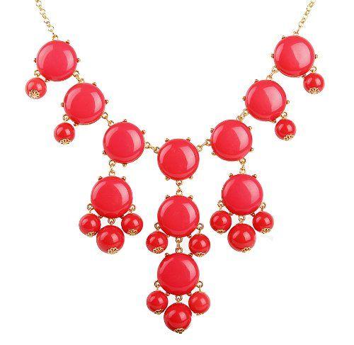 Amazon.com: Bubble Bib Necklace, Coral Red Bubble Necklace, Bubble Jewelry, Gold Tone,Coral Red Necklace (Fn0508-Coral Red): Jewelry