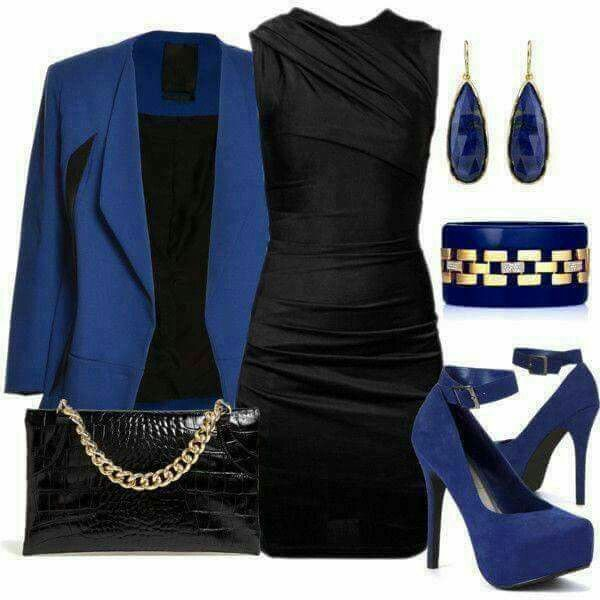 Royal blue. Black dress. Love