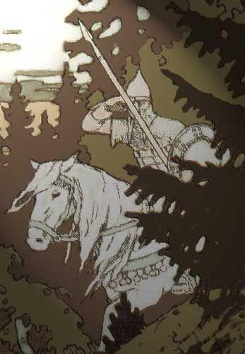 The white horseman, bringer of day.  By Ivan Bilibin